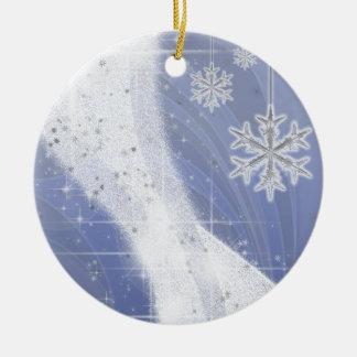 Snowy Star Ribbon (periwinkle) customize Ceramic Ornament