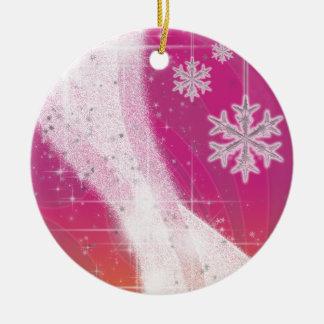 Snowy Star Ribbon (pink & yellow) customize Ceramic Ornament