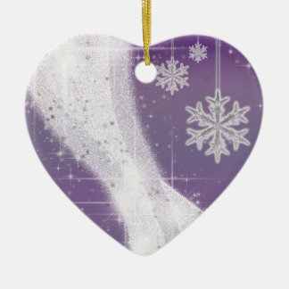 Snowy Star Ribbon (purple) customize Ceramic Ornament