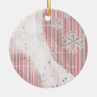 Snowy Star Ribbon (red peppermint) customize Ceramic Ornament