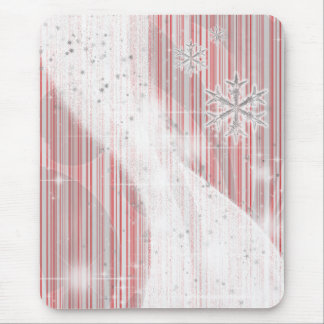 Snowy Star Ribbon (red peppermint) Mouse Pad