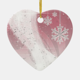 Snowy Star Ribbon (red & white) customize Ceramic Ornament