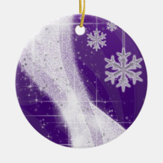 Snowy Star Ribbon (rich purple) customize Ceramic Ornament