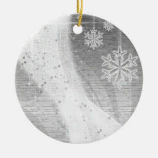 Snowy Star Ribbon (silver) customize Ceramic Ornament