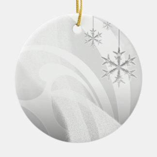 Snowy Star Ribbon (white & black) customize Ceramic Ornament