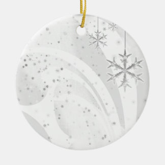 Snowy Star Ribbon (white) customize Ceramic Ornament