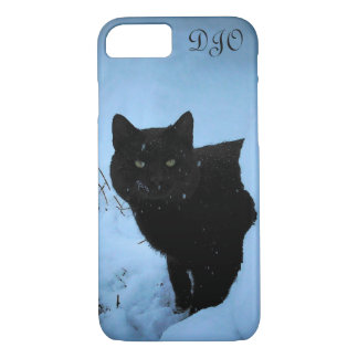 Snowy Staring Black Cat iPhone 8/7 Case