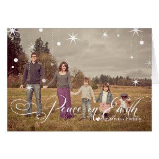 Snowy Stars Photo Christmas Card