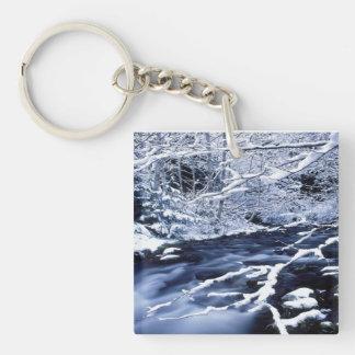 Snowy Stream - Single-Sided Square Acrylic Keychain