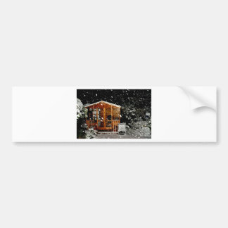 snowy summer house winer scene bumper stickers