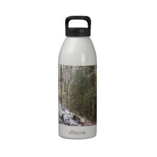 Snowy Sunlit Forest Glade Drinking Bottles
