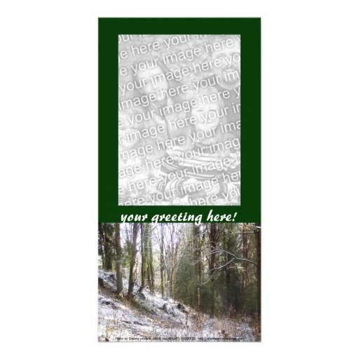 Snowy Sunlit Forest Glade Photo Card Template
