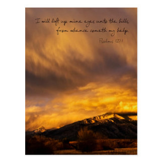 Snowy Sunset over Mountains Postcard