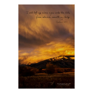 Snowy Sunset over Mountains Poster