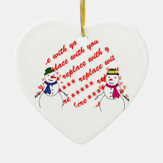 Snowy Sweethearts Photo Frame Ceramic Ornament