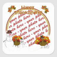Snowy Thanksgiving Photo Frame Square Stickers