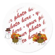 Snowy Thanksgiving Photo Frame Sticker
