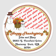 Snowy Thanksgiving Photo Frame Stickers