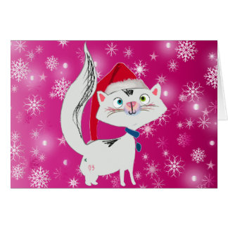 Snowy the Cat with Santa Hat Greeting Card