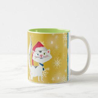 Snowy the Cat with Santa Hat Mug