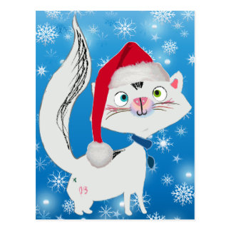 Snowy the Cat with Santa Hat Postcard