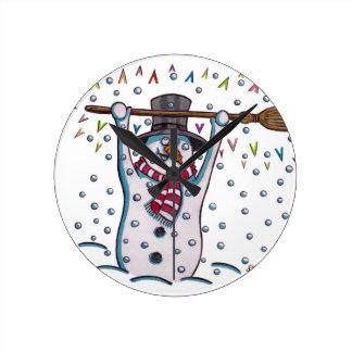 Snowy the Snowman Round Clock