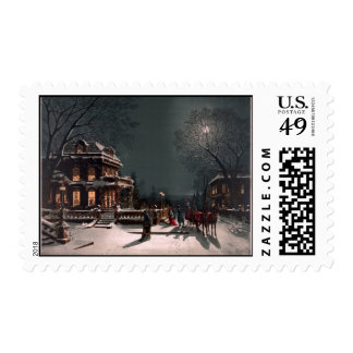 Snowy Town Postage Stamps
