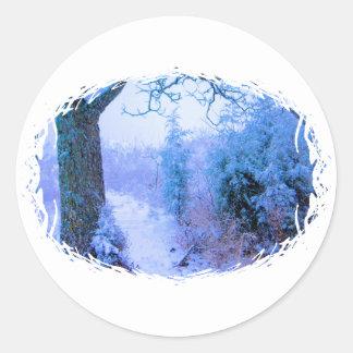 Snowy Trail 1 Classic Round Sticker