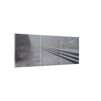 Snowy Train Tracks Gallery Wrapped Canvas
