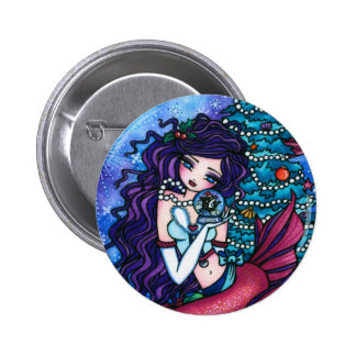 Snowy Treasures Christmas Fairy Mermaid Orca Pinback Button