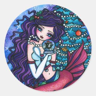 Snowy Treasures Christmas Fantasy Mermaid Orca Stickers