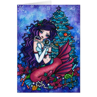 Snowy Treasures Fantasy Mermaid Orca Christmas Greeting Card