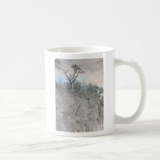 Snowy tree at Singing Beach Coffee Mug