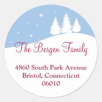 Snowy tree blue Christmas holiday address label