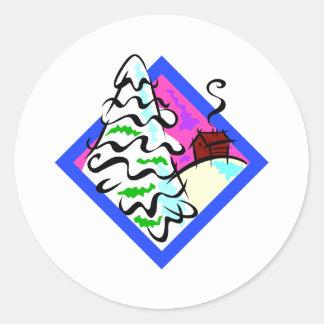 Snowy Tree Classic Round Sticker