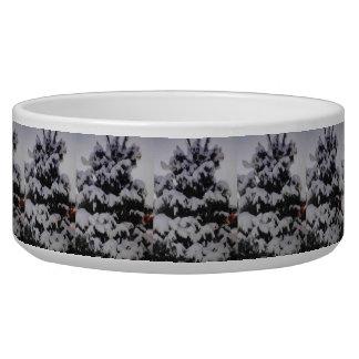 Snowy Tree Dog Bowl