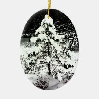 Snowy Tree & Windmill Christmas Tree Ornaments
