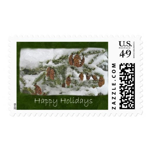 Snowy Tree with Pine Cones - Happy Holidays Postage Stamps