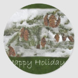Snowy Tree with Pine Cones - Happy Holidays Round Stickers