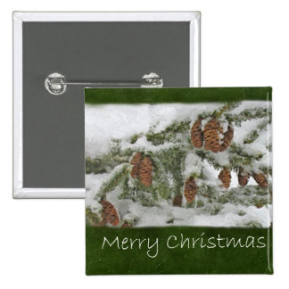 Snowy Tree with Pine Cones - Merry Christmas Pinback Button