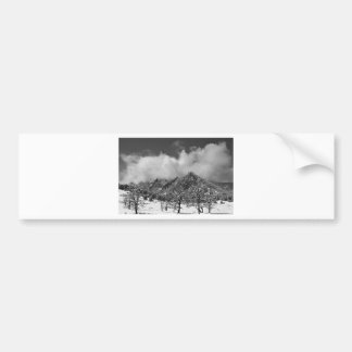 Snowy Trees And The Flatirons Boulder Colorado BW Bumper Sticker