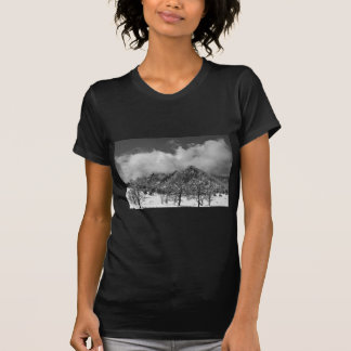 Snowy Trees And The Flatirons Boulder Colorado BW T-shirts
