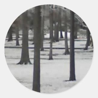 Snowy Trees Classic Round Sticker