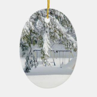 Snowy trees in winter landscape christmas ornament