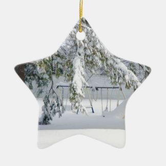 Snowy trees in winter landscape ornament