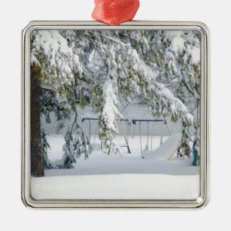 Snowy trees in winter landscape christmas ornaments