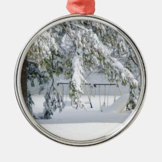 Snowy trees in winter landscape ornaments