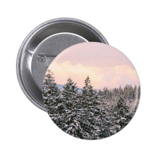 Snowy Trees Landscape Photo Pinback Buttons