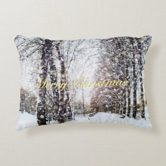 Snowy Trees Lane Holiday Landscape Merry Christmas Decorative Pillow