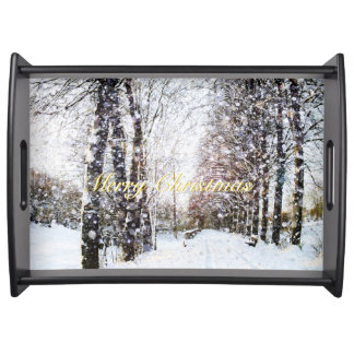 Snowy Trees Lane Holiday Landscape Merry Christmas Serving Platters
